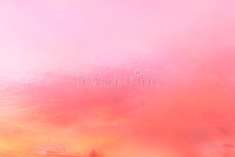 Twilight sky with effect of light pastel tone. Colorful sunset of soft clouds stock photos