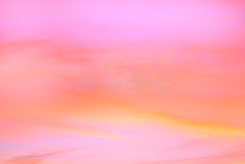 Twilight sky with effect of light pastel tone. Colorful sunset of soft clouds stock photography
