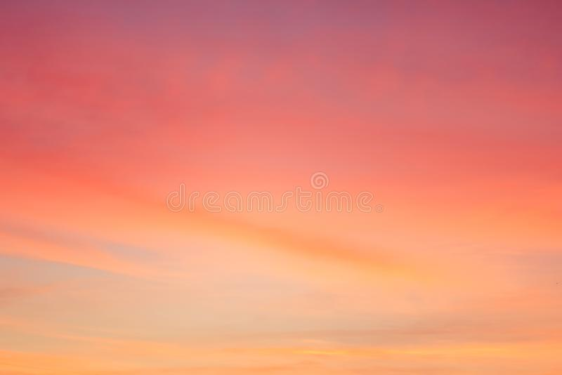 Twilight sky with effect of light pastel tone. Colorful sunset of soft clouds royalty free stock images