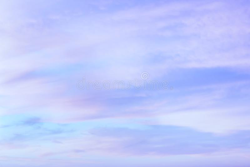 Twilight sky with effect of light pastel tone. Colorful sunset of soft clouds royalty free stock photography