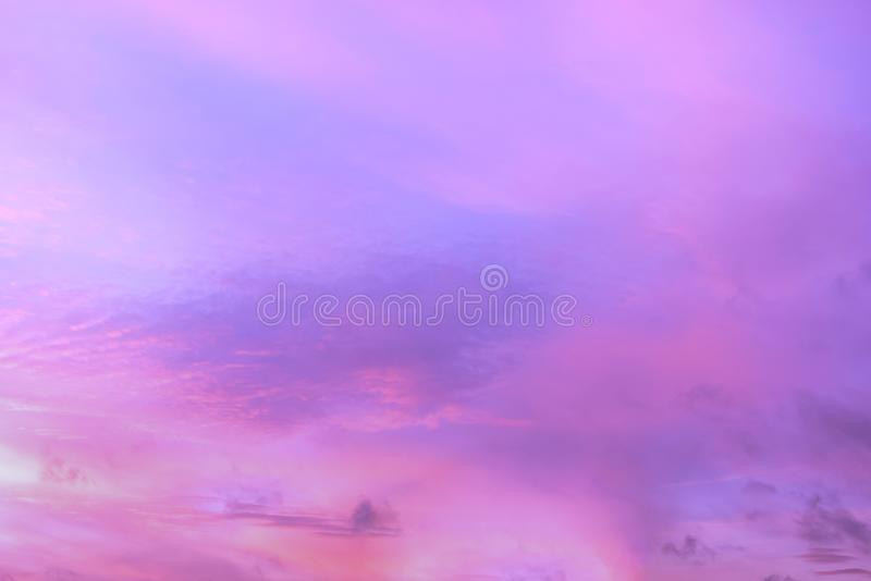 Twilight sky with effect of light pastel tone. Colorful sunset of soft clouds royalty free stock photo