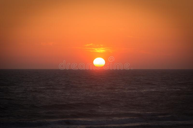 Twilight before the sun sets over Tyrrhenian sea. Amazing sunset royalty free stock image