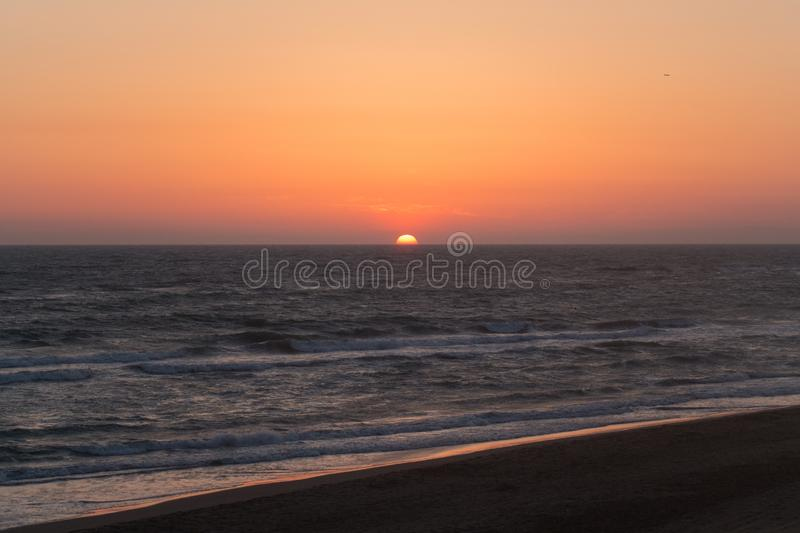 Twilight before the sun sets over Tyrrhenian sea. Amazing sunset royalty free stock images