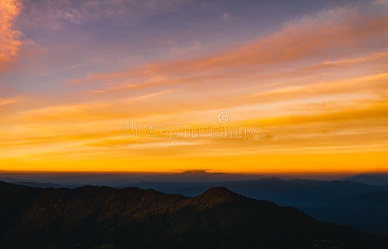 Twilight sunset Evening light on the mountain. Travel stock image