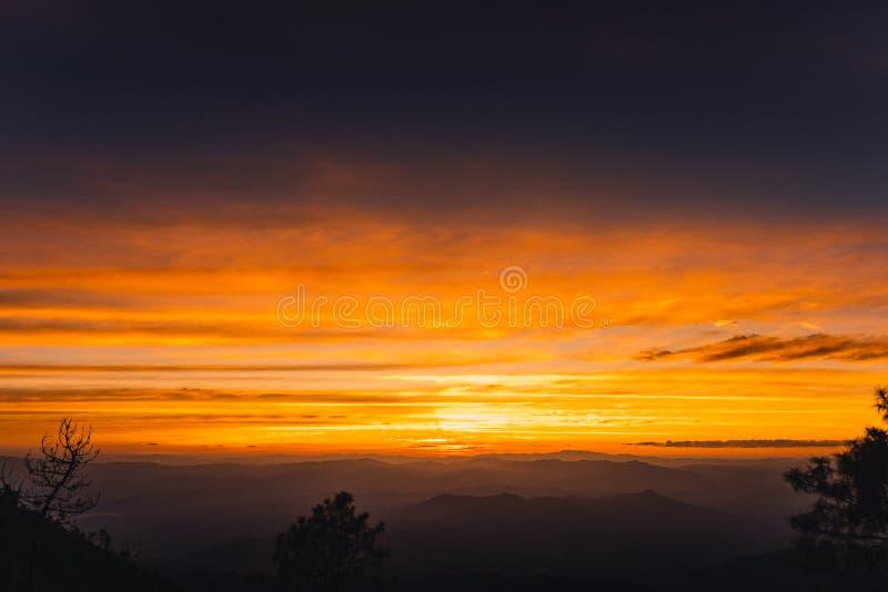Twilight sunset Evening light on the mountain. Travel royalty free stock photography