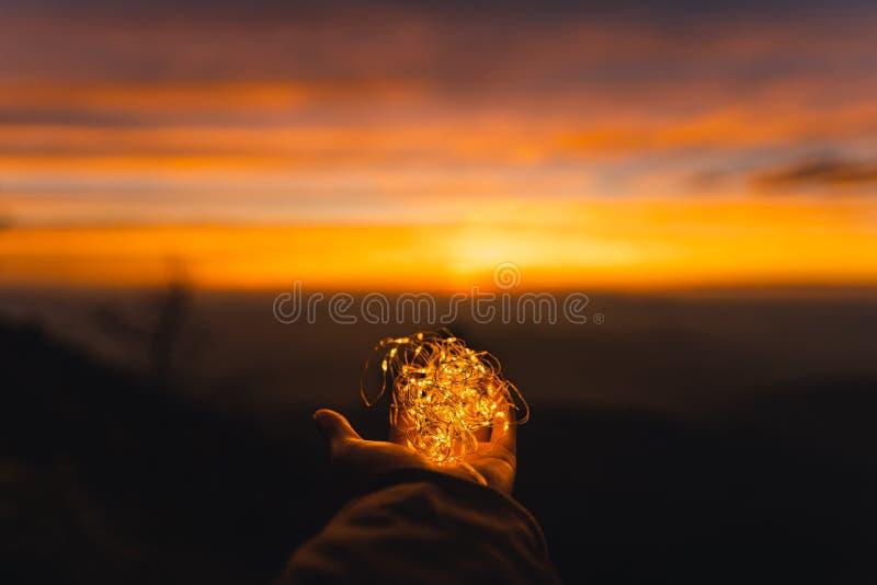 Twilight sunset Evening light on the mountain. Travel royalty free stock photos