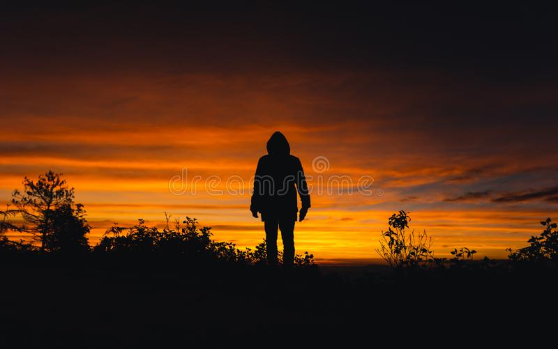 Twilight sunset Evening light on the mountain. Travel royalty free stock images