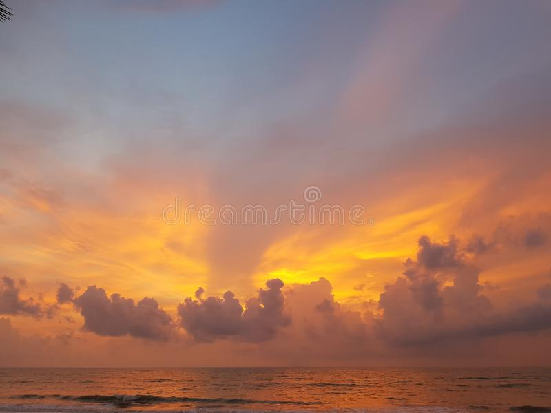 Twilight sunset at sea in Andaman ocean / sunset background / sky texture / landscape photography.  stock photos