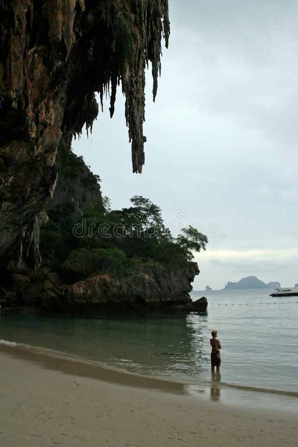 Twilight tide railay beach thailand stock image