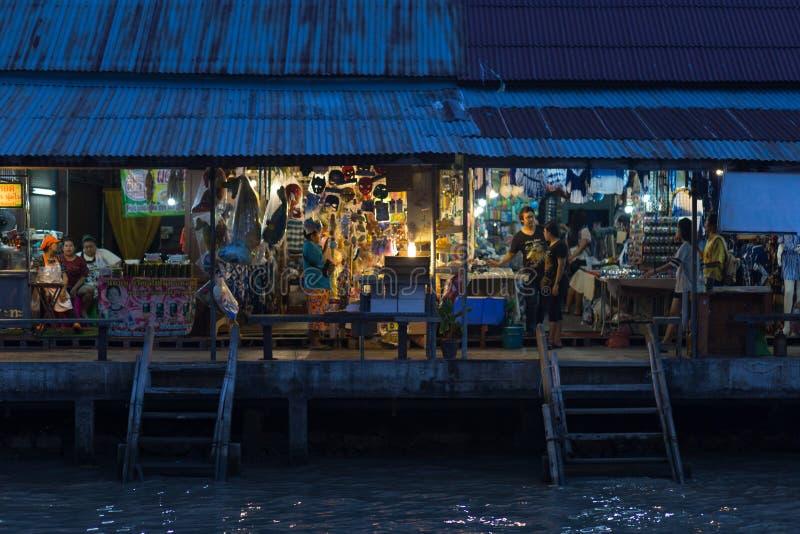Twilight time at Amphawa floating. Market, Thailand royalty free stock photo