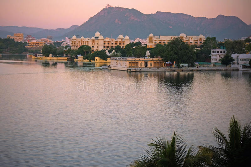 Twilight at Udaipur, India. City of Udaipur in India at dusk in early winter. It is situated on Lake Pichola and surrounded by the Aravalli Hills in the state of royalty free stock photos