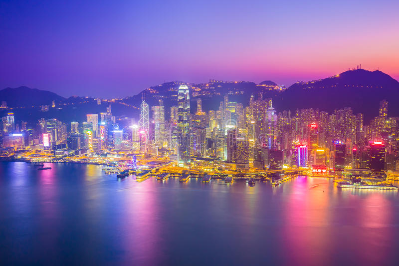 Twilight of Victoria Harbour in Hong Kong, China stock photography