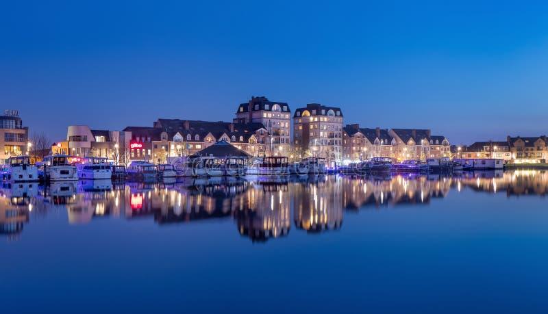 Twilight view on apartments, Nieuwe Kaai, Turnhout, Belgium royalty free stock photos