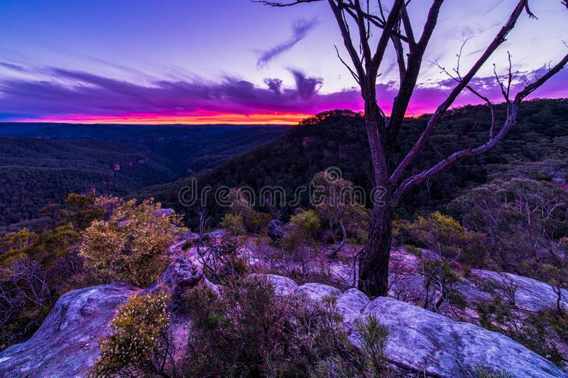 Twilight at Bonnie view lookout NSW Australia. Twilight view of Bonnie View lookout in Morton national park Bundanoon located in the Southern Highlands of NSW royalty free stock photo