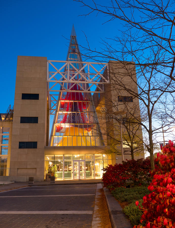 Twilight view of the John G Diefenbaker Building in Ottawa, Ontario, Canada stock photo