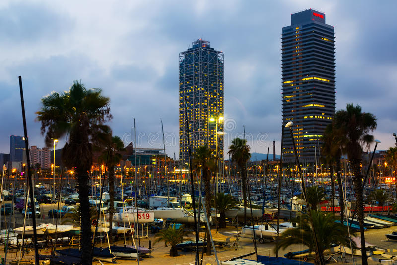Twilight view of Port Olimpic in Barcelona, Spain stock photo