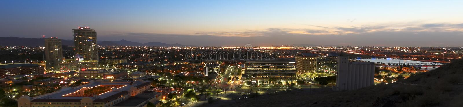 A Twilight View of Tempe and Phoenix stock photography