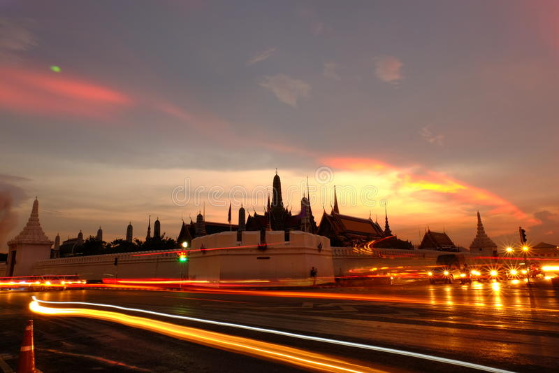 Twilight at Wat Phra Kaew (Temple of the Emerald Buddha) stock photo
