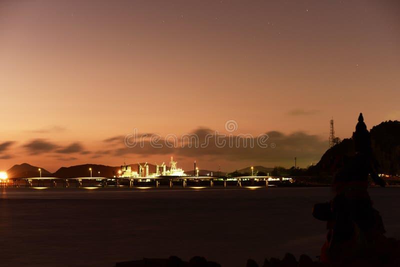 Twiligthtijd Na de hemel van de zonsondergang rood-Sinaasappel stock afbeeldingen