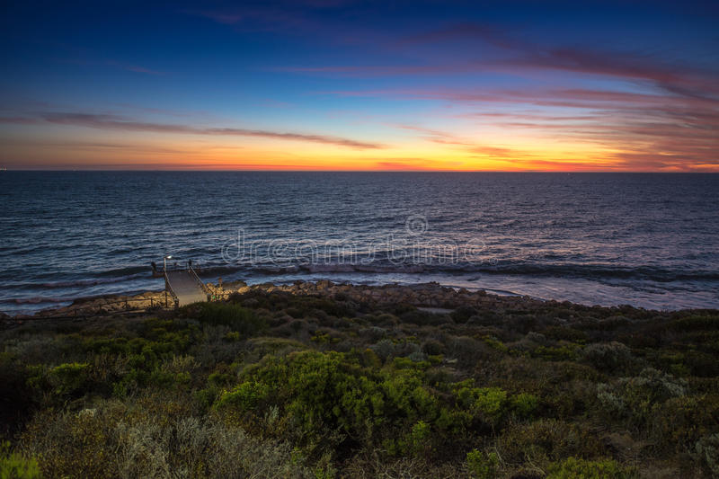 Twillight na praia de Trigg, WA, Austrália fotografia de stock