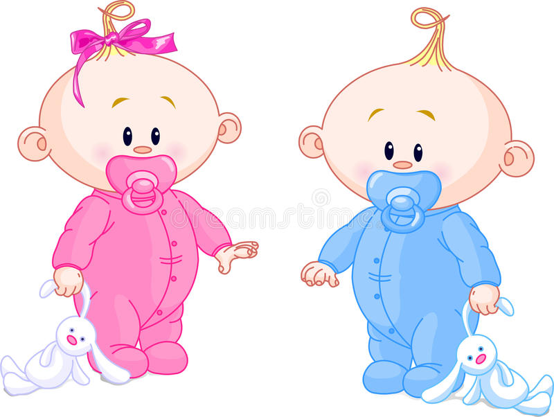 Twin Babies. Twin Baby Boy And Girl With Pacifiers and Toys