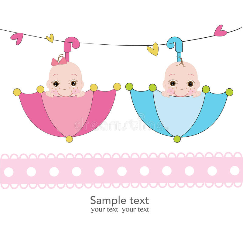 Twin baby boy and girl with umbrella greeting card. Vector royalty free illustration