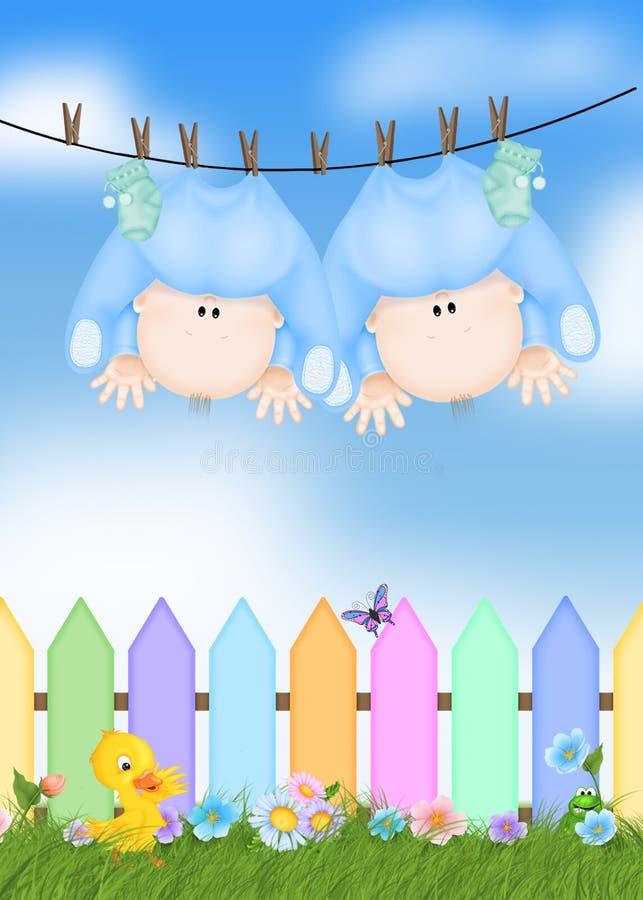 Twin Baby Boys. On a clothesline vector illustration