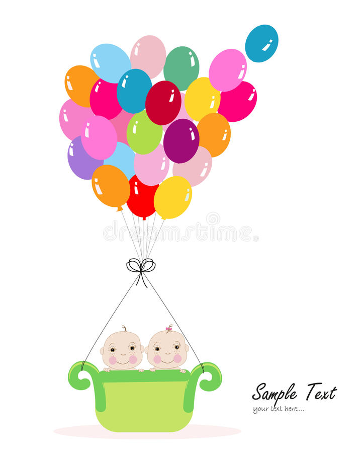 Twin Baby With Colorful Balloon Baby Shower Greeting Card Stock