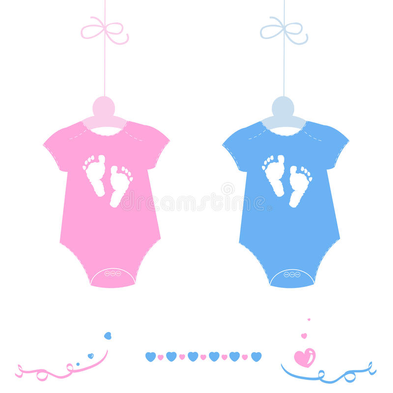 Twin baby girl and boy, baby body with feet prints arrival greeting card vector royalty free illustration