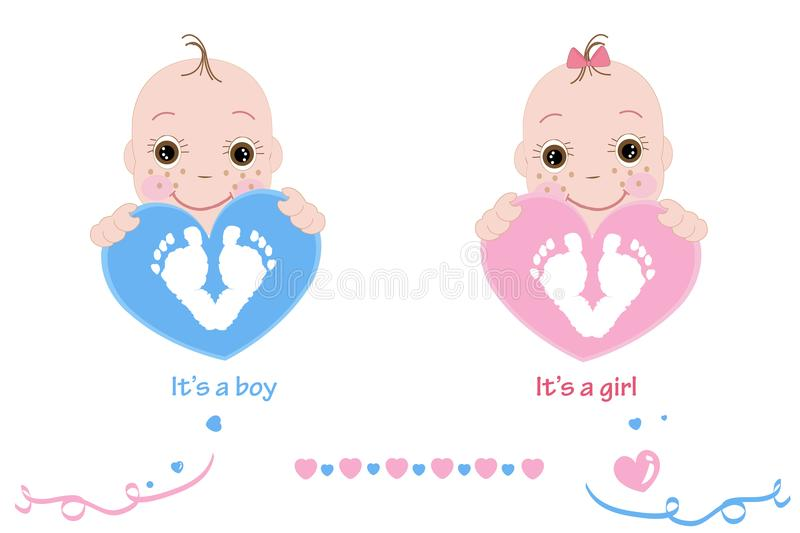 Twin baby girl and boy. Baby feet and hand print. Baby arrival card pink, blue colored hearts vector illustration