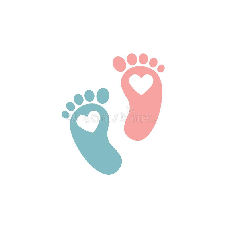 Twin baby girl and boy feet prints arrival greeting card with hearts. Vector illustration on white background. Feet silhouette for royalty free illustration