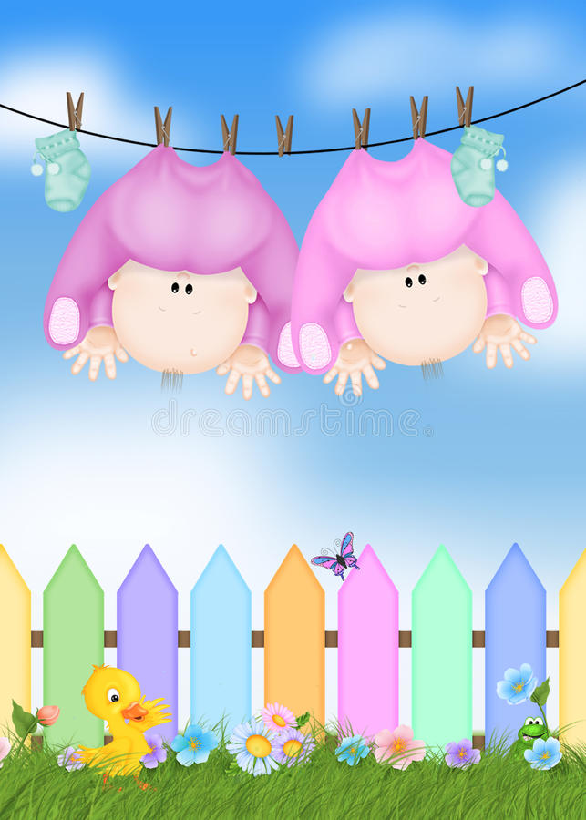 Twin Baby Girls on clothesline. Twin baby girls hanging on a clothesline stock illustration