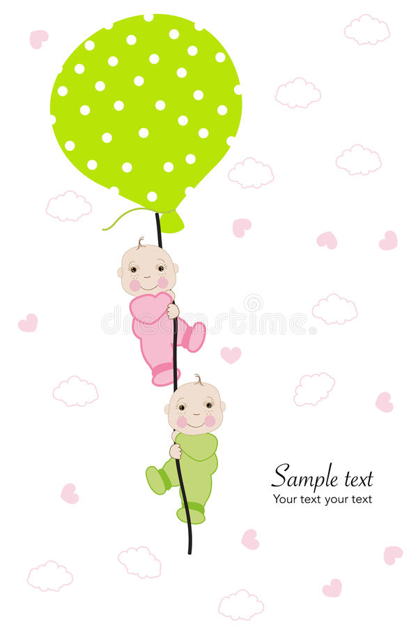 Twin Baby Hold Balloon Baby Shower Greeting Card Stock Vector