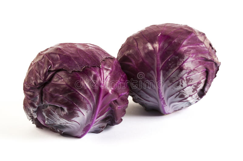 Twin baby red cabbages royalty free stock photos