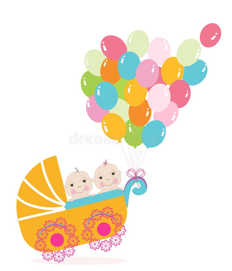Twin Baby Stroller With Balloon Baby Shower Greeting Card Vector