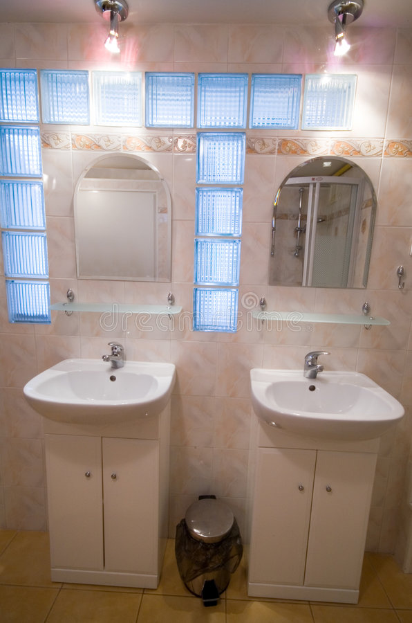 Download Twin basins. stock photo. Image of lights, basin, mirror - 2639888