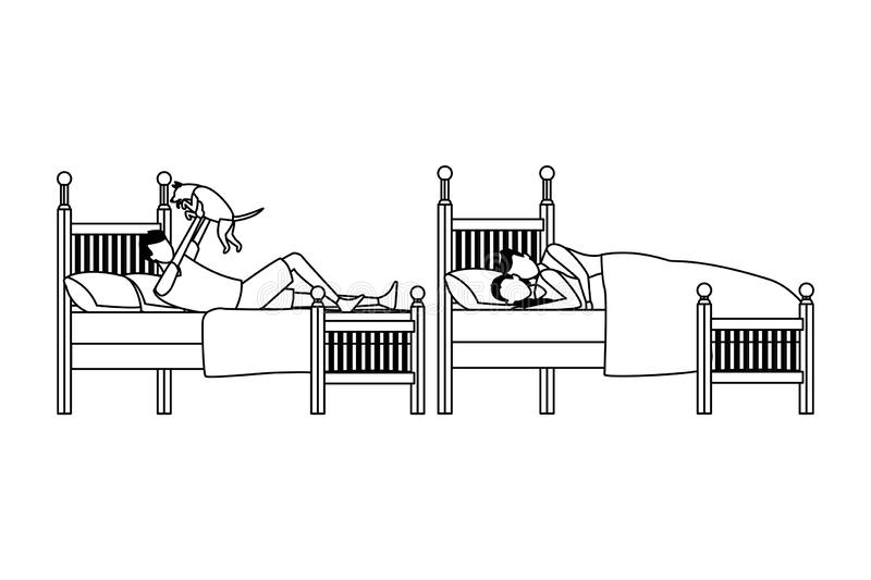 Twin bed room and couple coodle in black and white vector illustration