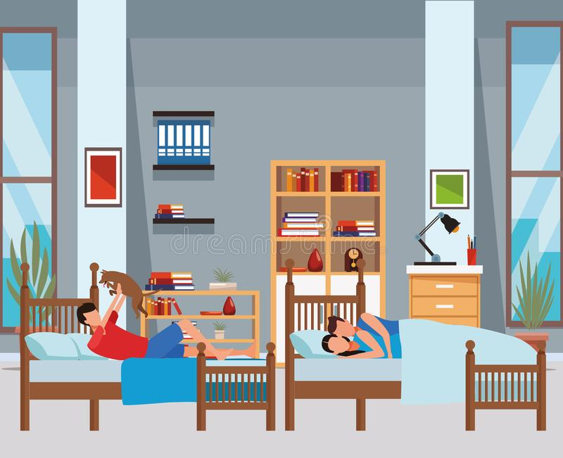 Twin bed room and couple coodle royalty free illustration