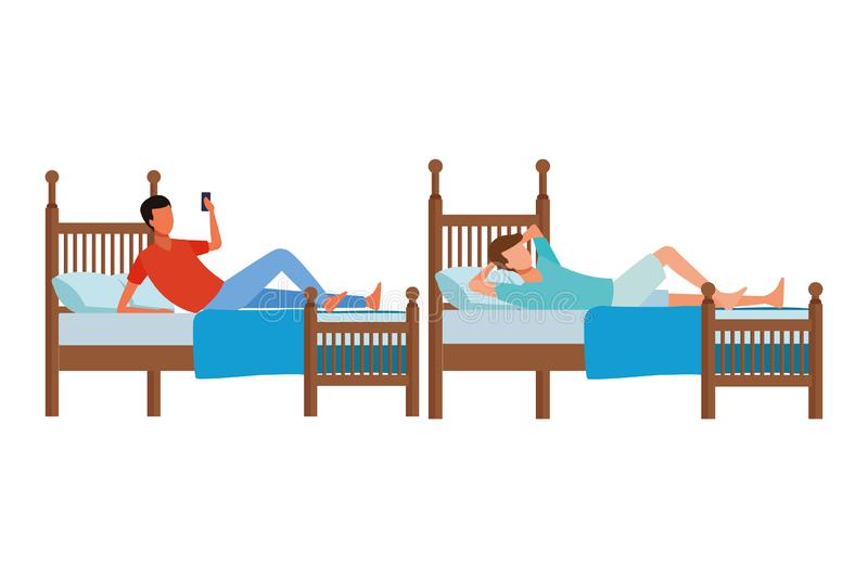 Twin bed room and faceless people vector illustration