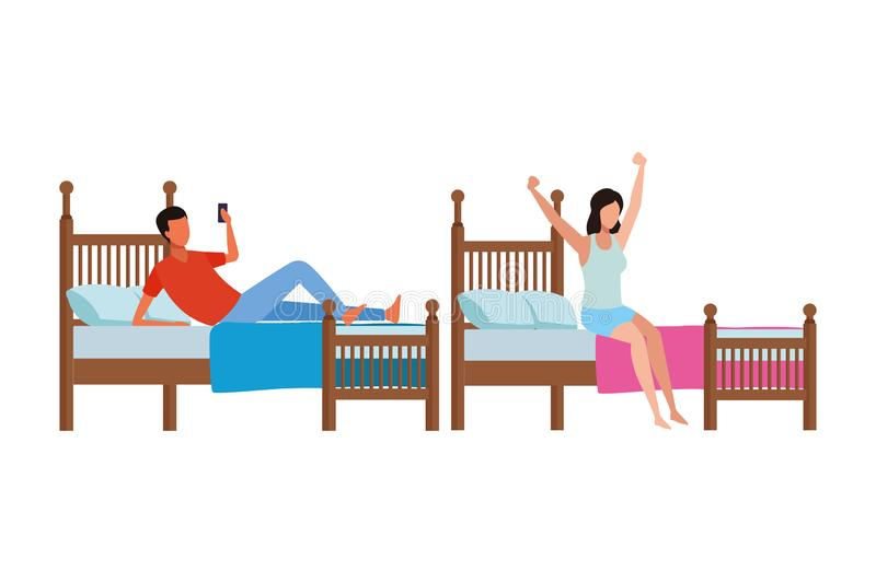 Twin bed room and faceless people stock illustration