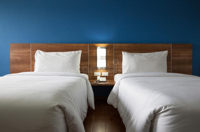 Twin bed stock image
