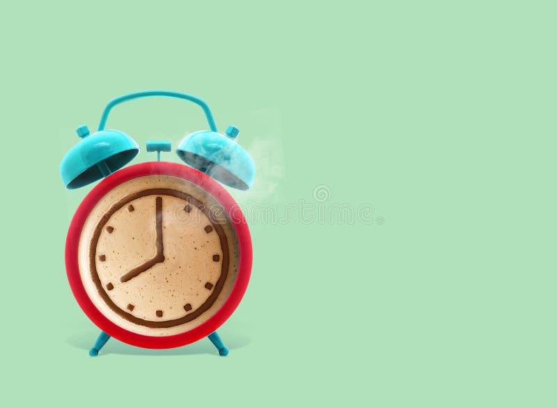 Twin bell alarm clock with coffee mug on green background, Coffee clock, creative idea. minimal concept, coffee cup time clock stock illustration