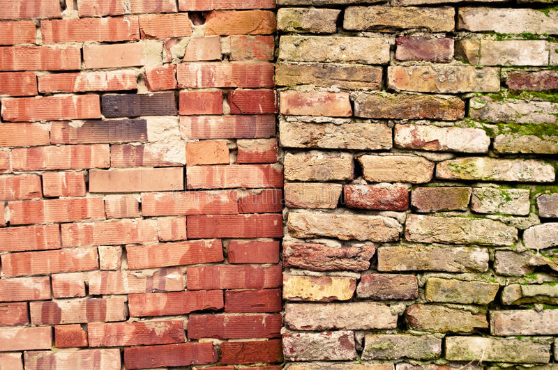 Twin brick walls. Two brick walls standing next to each other stock photos