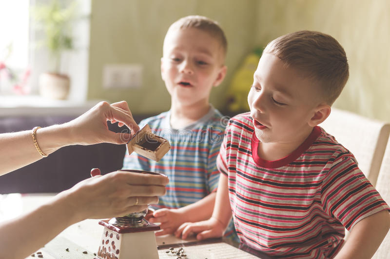 Twin brothers helping her mother to grind coffee stock photo