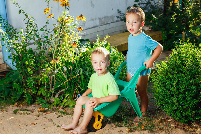 Twin brothers playing royalty free stock photos