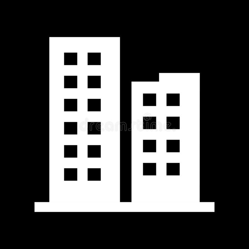 Twin buildings for web icons and symbols on a black background. And flat vector illustration