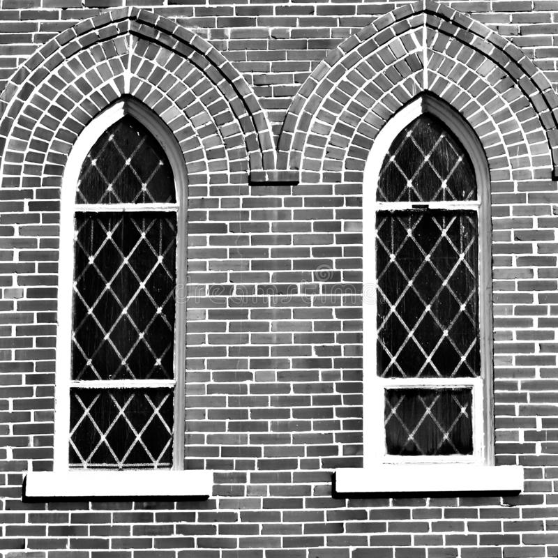 Twin Church Windows - Monochrome royalty free stock images