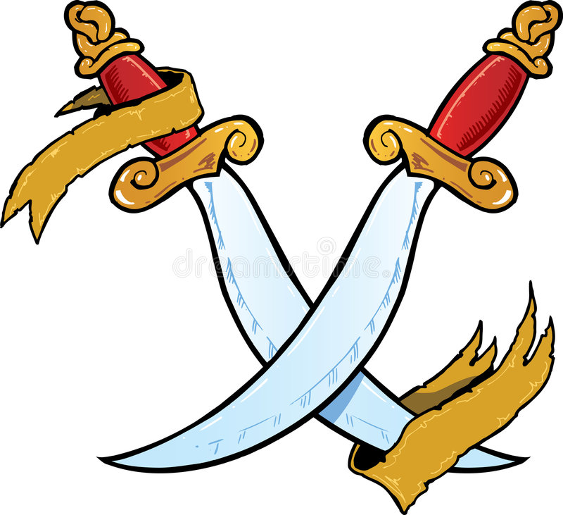 Twin daggers tattoo style vector illustration royalty free stock image