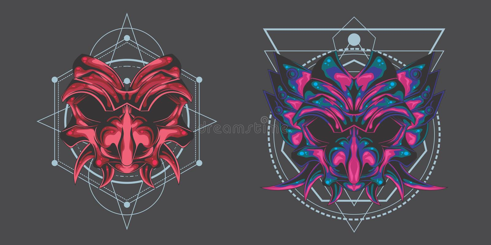 Twin demon mask pack stock illustration