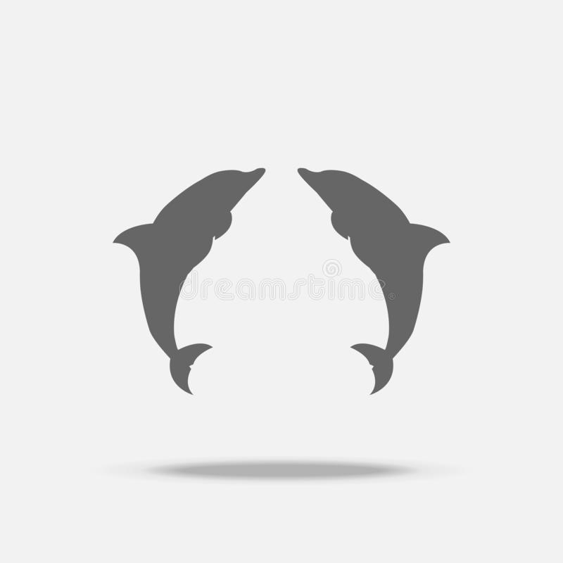 Twin Dolphins Flat design vector icon with shadow royalty free illustration